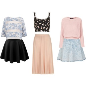 crop tops and skirts
